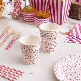 8 gobelets en carton étoiles rose bonbon