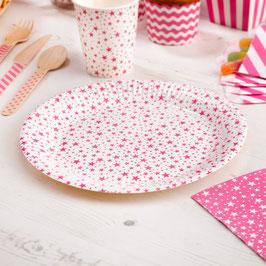 8 assiettes en carton étoiles rose bonbon