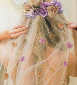 Serre tête EVJF avec fleurs et voile