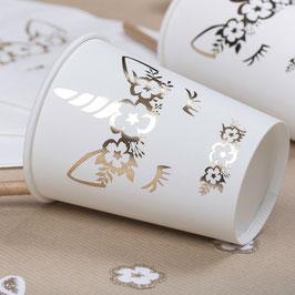 8 gobelets avec licorne dorée