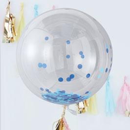 3 Ballons Confettis Bleus Géants