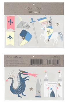 2 Planches de Tatouages Chevaliers et Dragons Meri Meri
