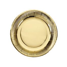 8 Assiettes en carton dorées brillantes