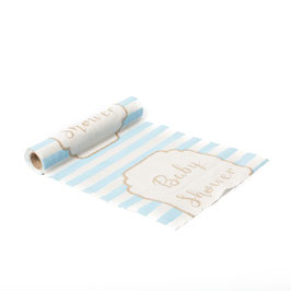 Chemin de table lin rayé bleu ciel Baby shower