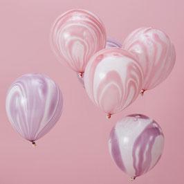 10 ballons marbrés pastels rose et parme
