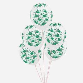 5 ballons imprimés feuilles exotiques my little day