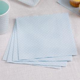 20 serviettes bleu ciel plumetis blancs