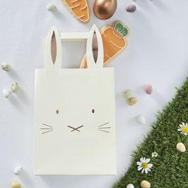5 sacs à cadeaux lapins jaune pastel