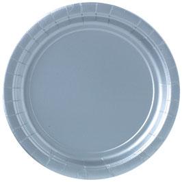8 assiettes argent mat en carton diamètre 23cms