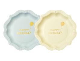 12 assiettes vert pastel et jaune pastel écriture Happy birthday doré