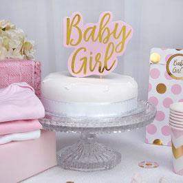 """Décoration gateau Cake topper """"Baby Girl"""" rose et doré"""