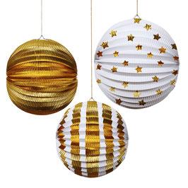 3 grands lampions blanc et or Meri Meri