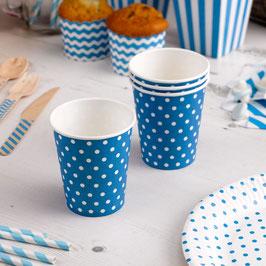 8 gobelets en carton fond turquoise pois blancs