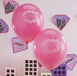 """10 ballons roses avec écriture """"POP"""""""