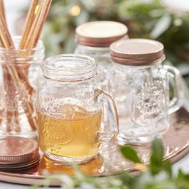 4 mini jars en verre avec couvercle rose gold