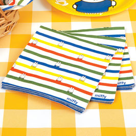 16 grandes serviettes rayures multicolores Miffy