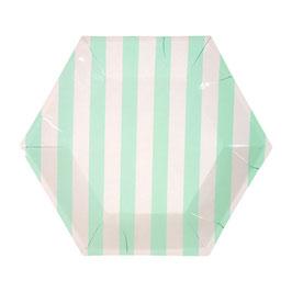 12 Petites assiettes rayures vert menthe et blanc meri meri