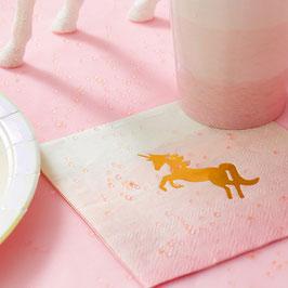 16 petites serviettes dégradées avec licorne dorée