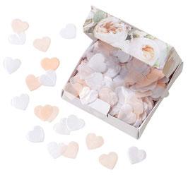 Confettis Coeurs Rose Pastel et Blanc