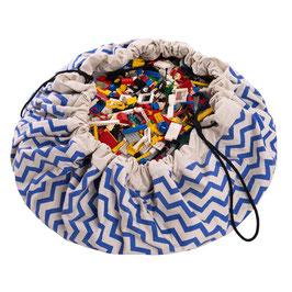 Sac de rangement et tapis de jeu zig zag bleu et blanc Play and go