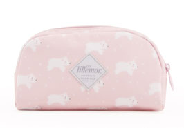 Trousse ours blanc fond rose pastel Eef Lillemor