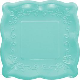 8 petites assiettes carrées dessin en relief turquoise