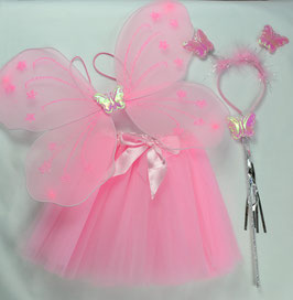 ENSEMBLE PRINCESSE ROSE 4 ARTICLES: TUTU, AILES,BAGUETTE,SERRE TETE