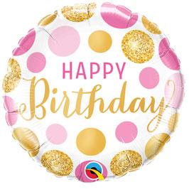 Ballon métallique Happy Birthday avec pois roses et dorés