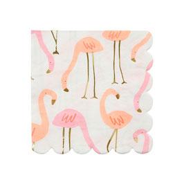 16 petites serviettes flamant rose meri meri