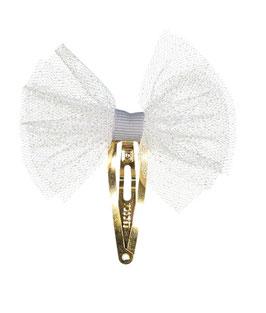 Barrette clip tulle blanc pailllettes argent grand modèle