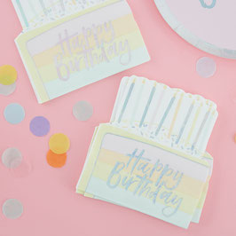 16 Serviettes Gateau Pastel Happy Birthday Irisé