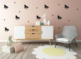 Stickers muraux licornes noires Pom le bonhomme
