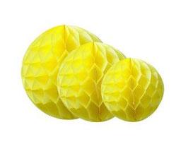 3 boules alvéolées en papier de soie jaunes 25cms/20cms/15cms