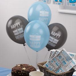 8 Ballons Happy Birthday bleus et gris