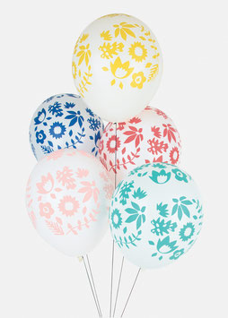 5 Ballons Latex Fleurs Tropicales My Little Day