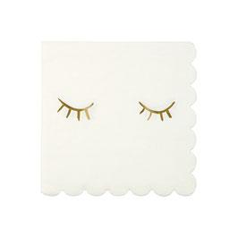 16 petites serviettes avec cils dorés meri meri