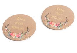 "2 Badges Evjf ""Team de la Mariée"" Fleurs"