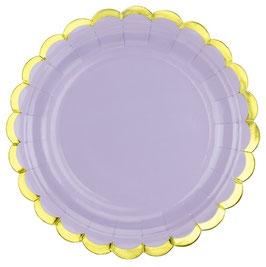 6 Petites Assiettes Lilas Bordure Dorée 18 cms