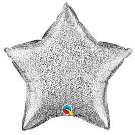 Ballon Etoile Holographique Argent Brillant