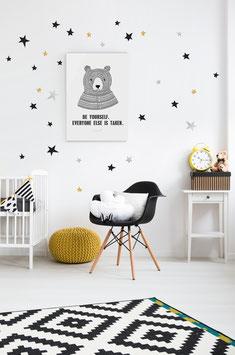 Stickers muraux étoiles noires, or, argent  Pom le bonhomme