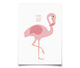 "Carte flamant rose ""flamingo love"""
