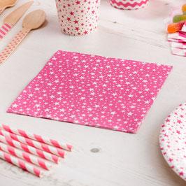 20 serviettes en papier fond rose bonbon étoiles blanches