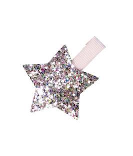 Barrette pince rose pastel étoile paillettes multicolores