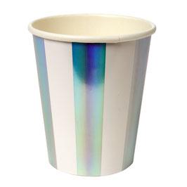 8 gobelets rayés blanc et argent reflets holographiques
