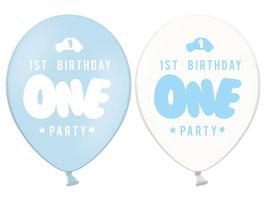 """6 Ballons Bleus et Transparents Ecriture """"One"""""""