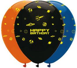 6 Ballons imprimés Espace Happy Birthday