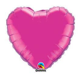 Ballon métallique coeur fushia brillant