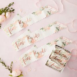"6 Echarpes Evjf fleurs bohèmes ""Team Bride "" rose gold"