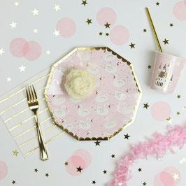 8 grandes assiettes rose pastel avec cygnes et contour doré