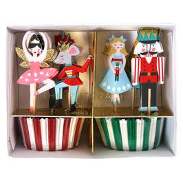 Kit pour 24 gâteaux et 24 décorations thème Casse Noisette Meri Meri